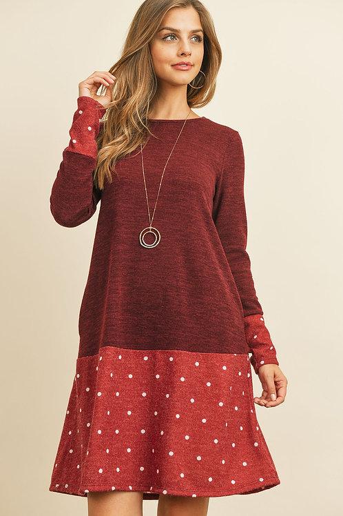 Polka Dot Bottom Contrast Pocket Midi Dress
