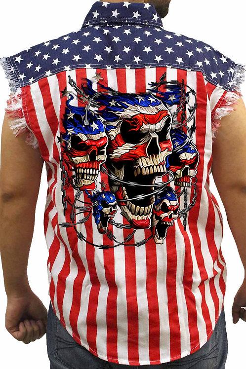 Men's USA Flag Sleeveless Denim Shirt Patriotic Skulls With Chains Biker