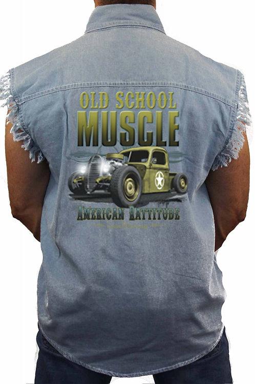 Old School Muscle American Rattitude Sleeveless Denim Shirt
