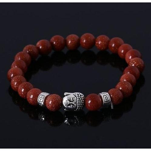 Silver Buddha Gold Sand Bead Bracelet - 2 Charms  7- 7.5 inch wrist