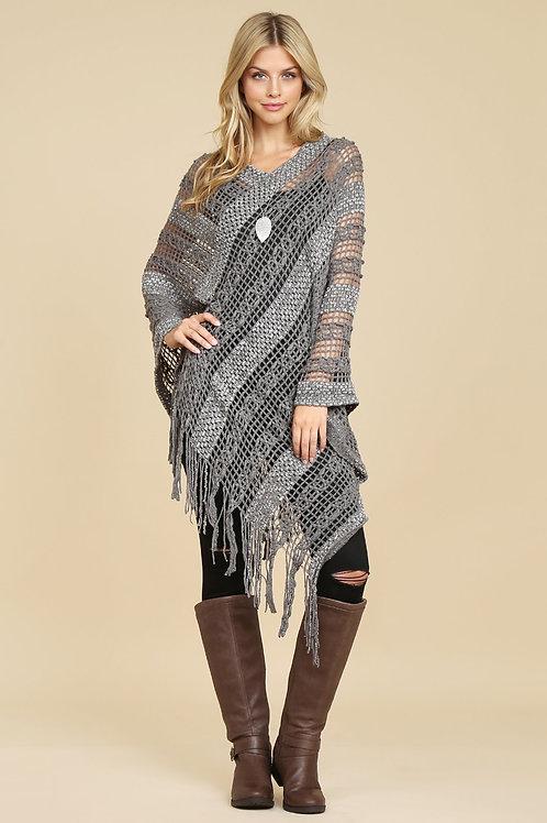 Hdf2097gy - Gray Crochet Native Pattern Poncho