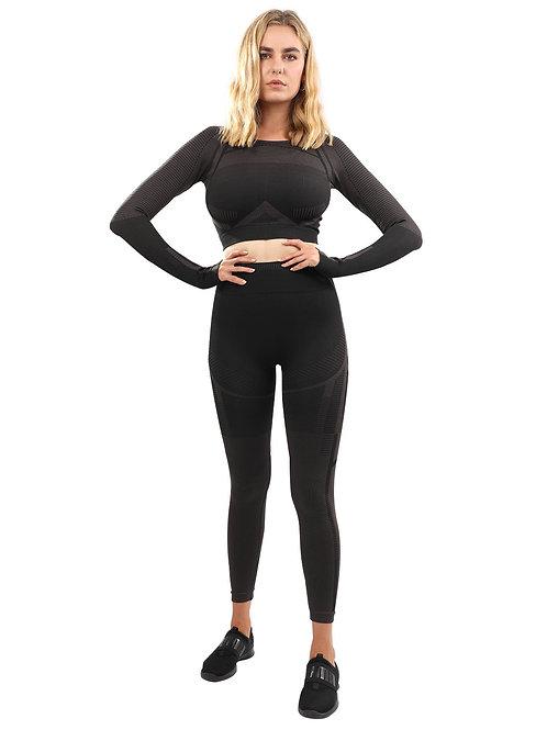 Decata Seamless Leggings & Sports Top Set - Black & Brown
