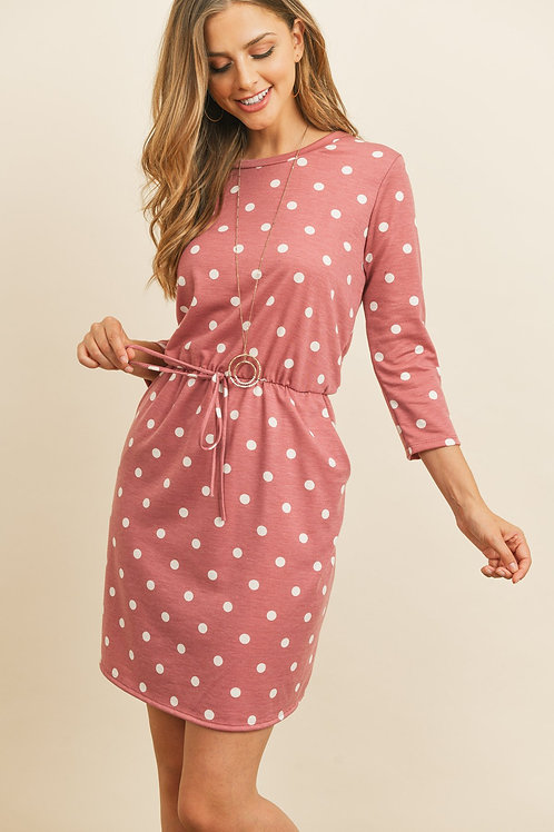 Polka Dot Print French Terry Cinch Waist Tie Front Dress With Pockets