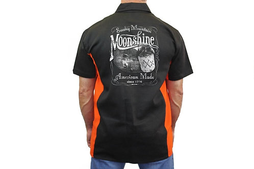 "Biker Mechanic Work Shirt ""Smoky Mountain Moonshine"" BLACK/ORANGE"