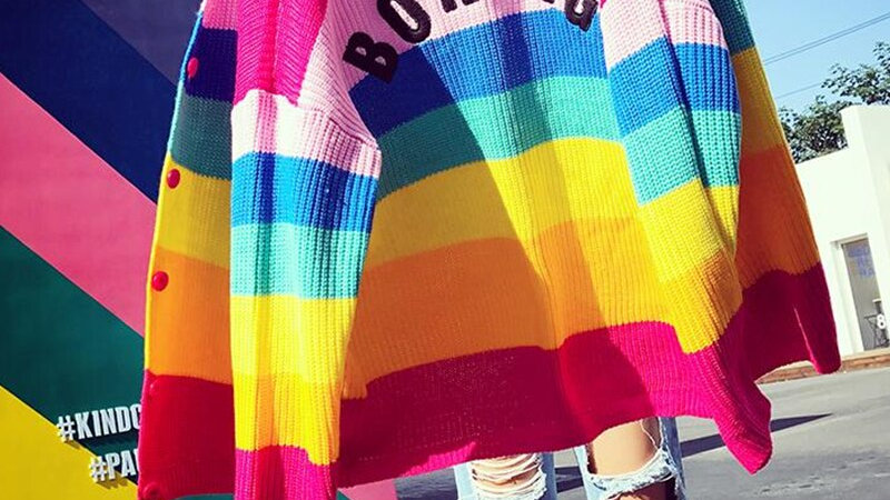 BORING Embroidered Rainbow Striped Knit Cardigan