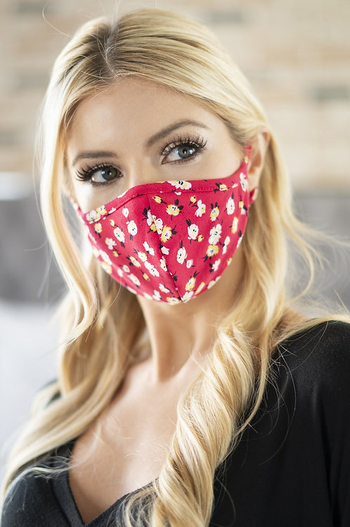Rfm6001-Rfl048-Bk - Floral Reusable Face Masks for Adults