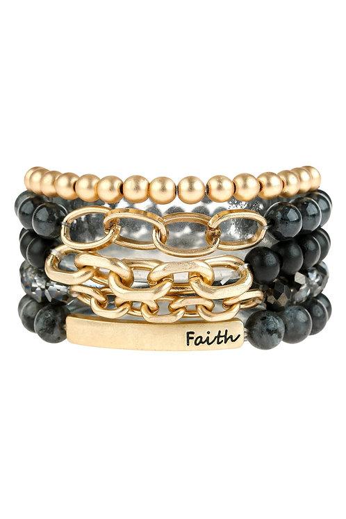 """Hdb2997 - """"Faith"""" Multi Line Charm Beaded Bracelet"""