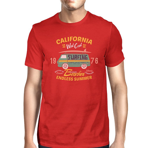 California Beaches Endless Summer Mens Red Shirt