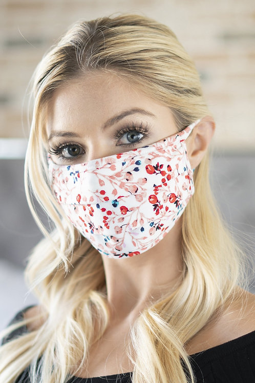 Rfm6006-Rfl083-Ivory- Floral Reusable Pleated Face Mask for Adults