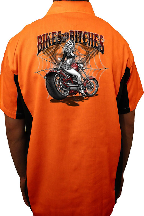 "Biker Mechanic Work Shirt ""Bikes and Bitces"""