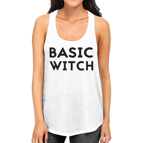 Basic Witch Womens White Tank Top