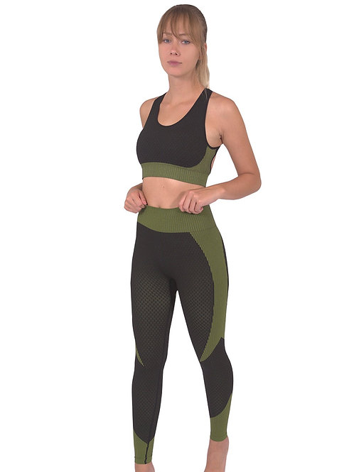 Trois Seamless Leggings & Sports Top 2 Set - Black With Green