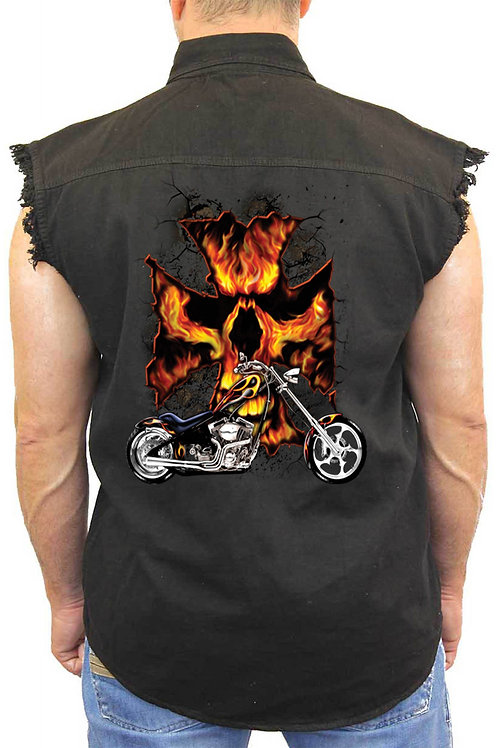 Sleeveless Denim Shirt Motorcycle Flames Skull Cross Biker