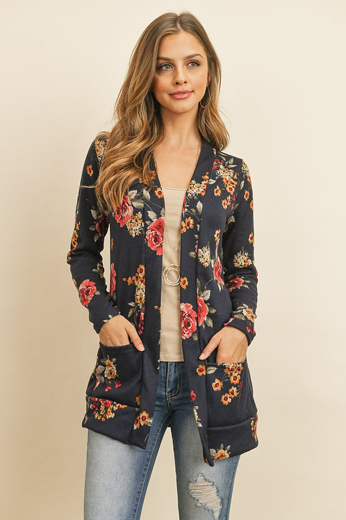 Floral Print Brushed Hacci Cardigan With Pockets