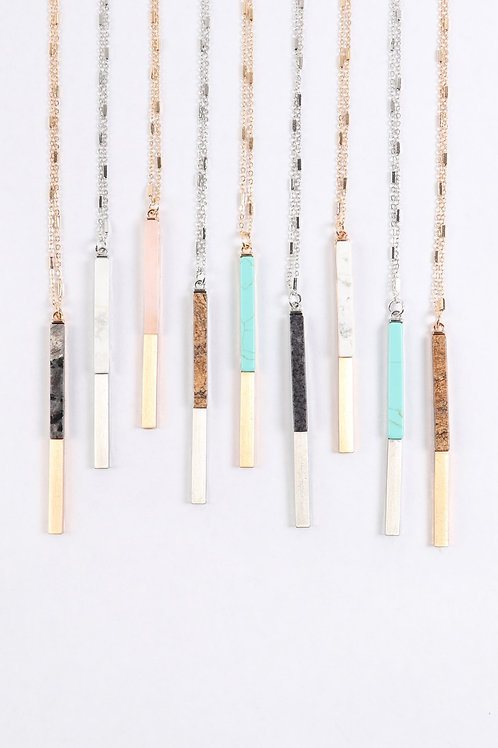 Myn1354 - Natural Stone With Metal Bar Necklace