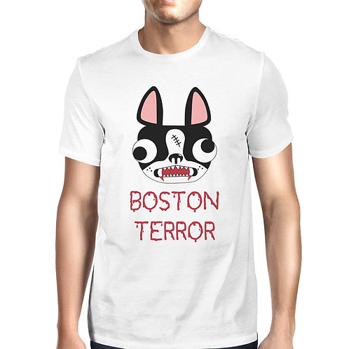 Boston Terror Terrier Mens White Shirt