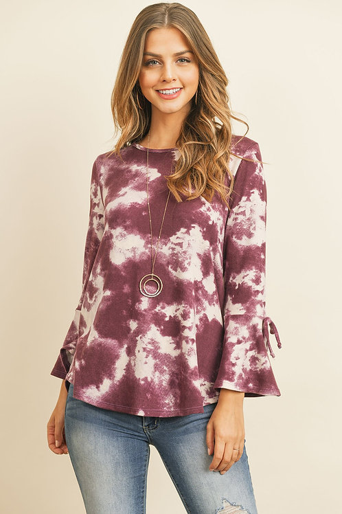 Tie Dye Bell Sleeved Ribbon Detail Swing Top