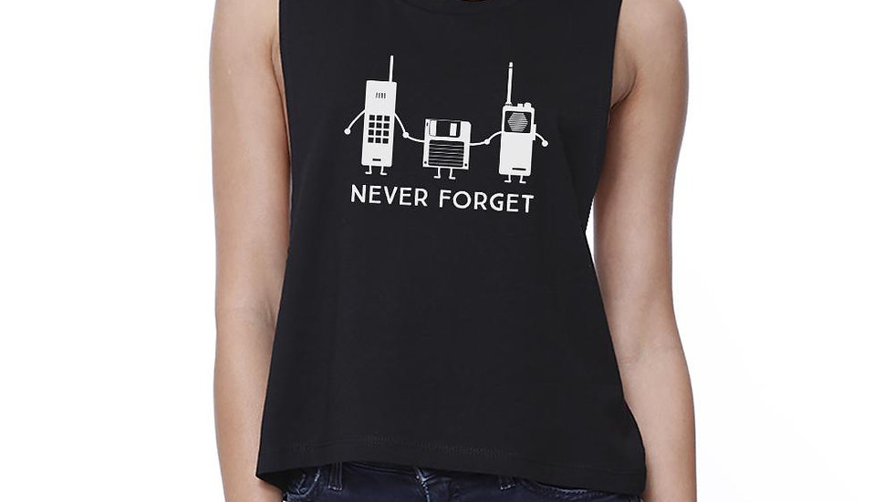 Never Forget Womens Black Crop Top