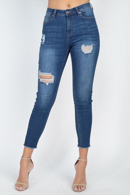 5 Pocket Distressed Denim Pants