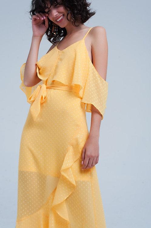 Yellow Textured Spot Dress With Waist Tie