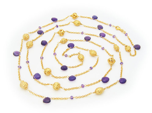 """Royal Purple Amethyst Charms Necklace, 42"""""""