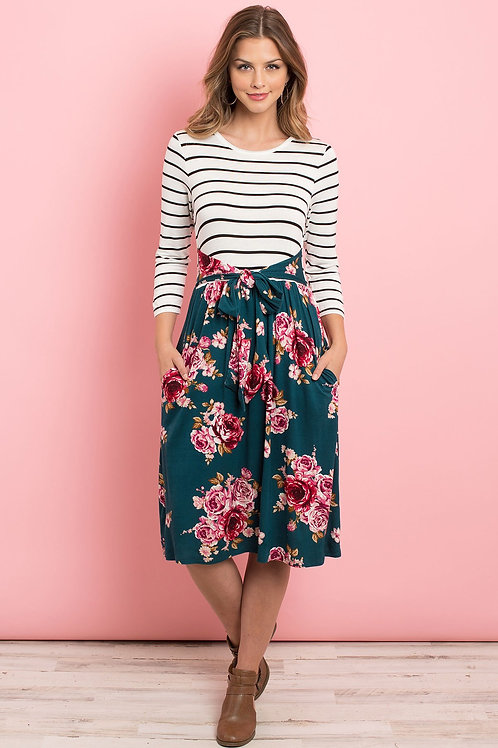 Stripes Front Ribbon Detail Floral Hem Dress