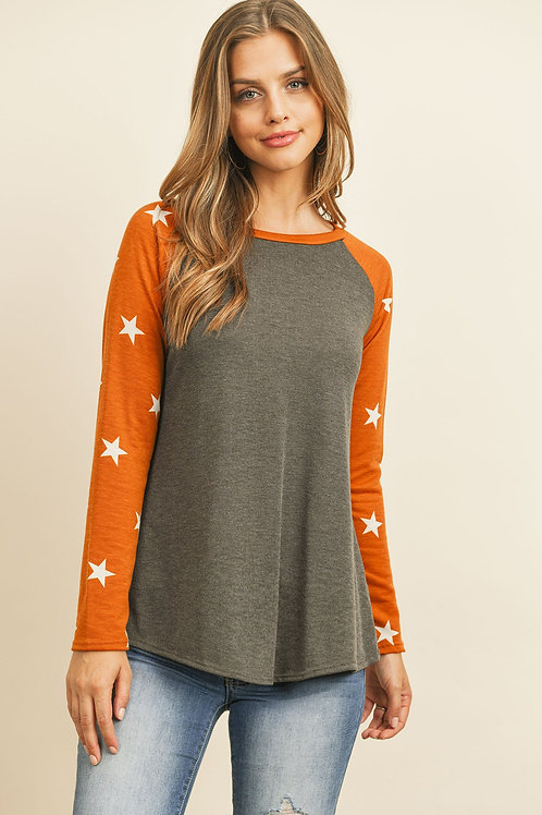 Star Contrast Sleeve Top
