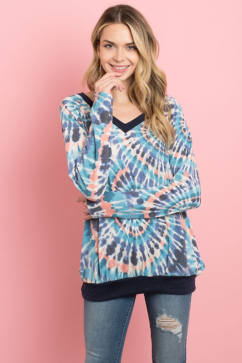 V-Neck Band and Hem Contrast Tie Dye Top