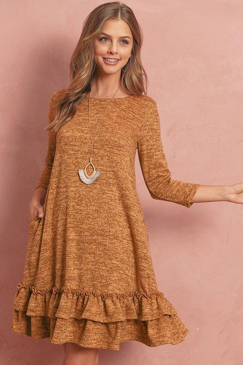 Round Neck Tiered Hem Dress