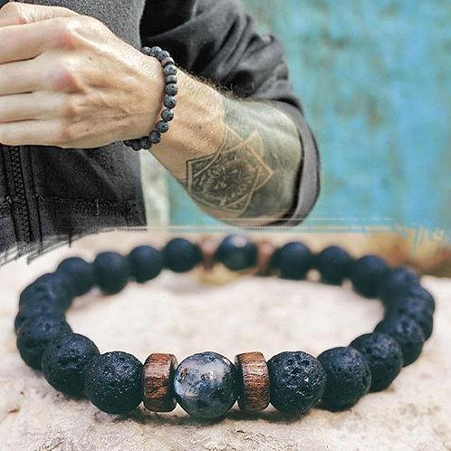 Men's Natural Jasper and Lava Stone Bead Tibetan Buddha Diffuser Bracelet
