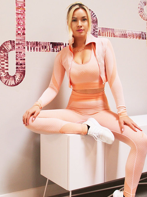 Trois Seamless Leggings & Sports Top 2 Set - Pink