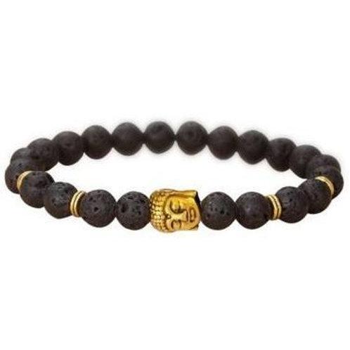 Golden Buddha Lava Bead  Bracelet -4 Charms