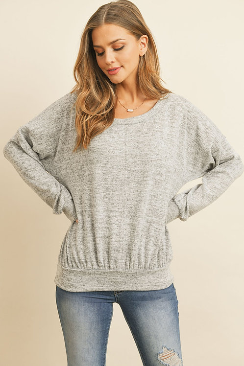 Two Toned Brushed Hacci Boat Neckline Top