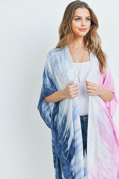 Hdf3173 - Tie Dye Ombre Open Front Kimono