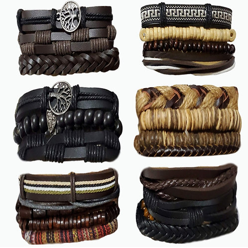 24 Pcs Woven Leather Bracelets Cool Leather Wrist Cuff Bracelets Adjustable