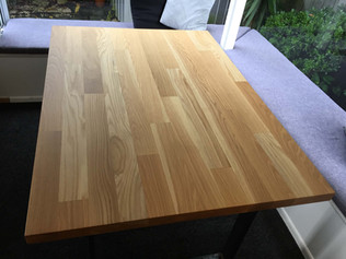 American Oak table, steel legs