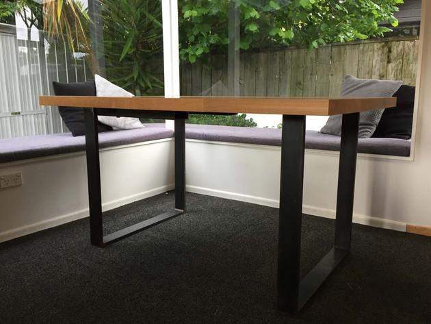 American Oak table, steel legs