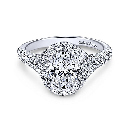 14k White Gold Oval Halo Diamond Ring