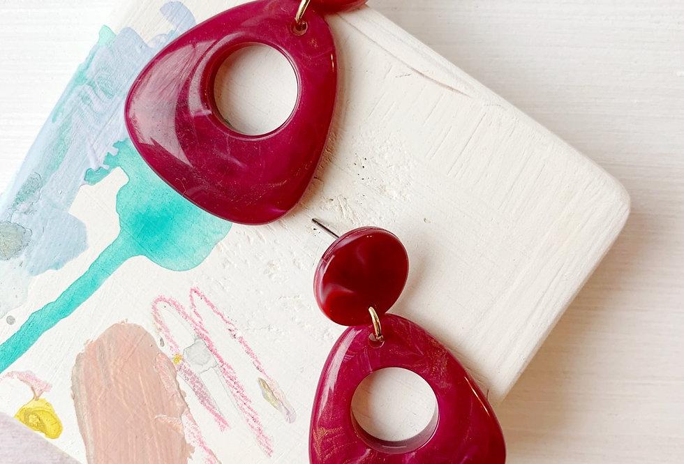 Cranberry Doorknocker Earrings