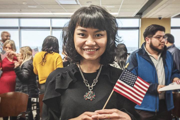 Burmese American Woman US Citizenship Flag