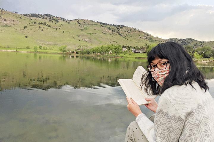Woman COVID19 Book Lake Relax Serene