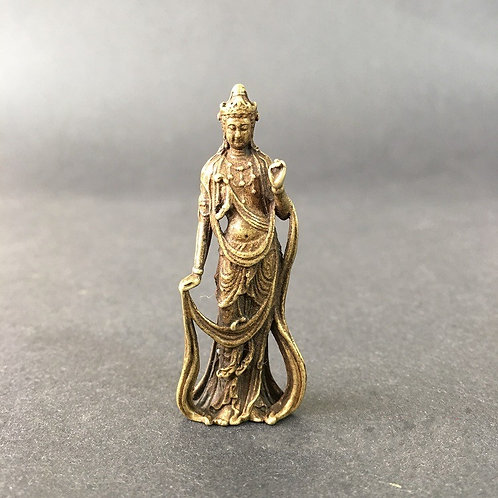 Collectible Chinese Brass Carved Kuan Yin Kuan Yin Buddha Statues