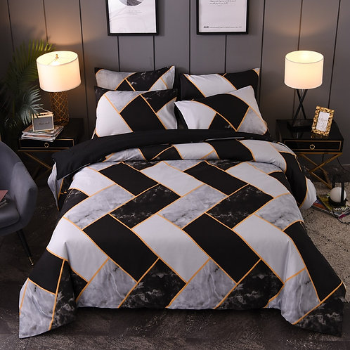 YuXiu Black Geometric Marble Bedding Set 3 Piece Set