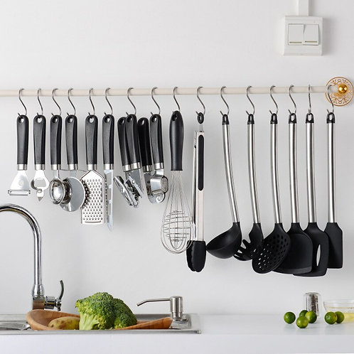 15 pcs. Silicone kitchen utensils come with free punching hook