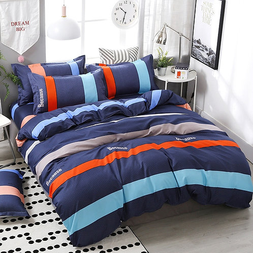 FUNBAKY 3/4 pcs. / Set Classic blue striped duvet, bedding set