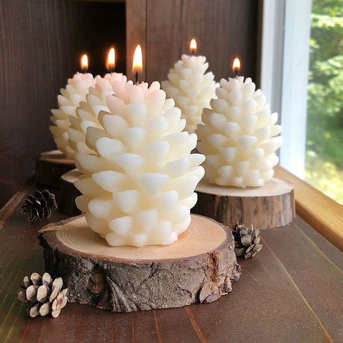FUNBAKY 3D Christmas Pine Cone Candle Silicone Mold DIY Handmade Candles