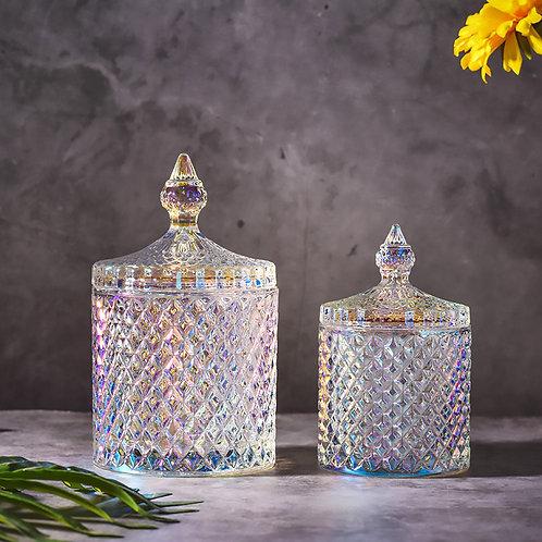 European color crystal glass storage 600ml canned sugar jars diamond candy box