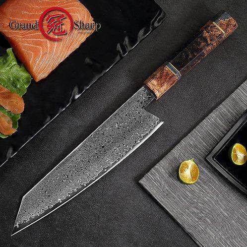 8.2 Inch Damascus Steel Kitchen Knife, Handmade Chef Knife