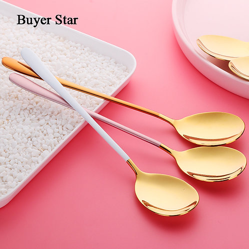 5 colors stainless steel spoon 1pc