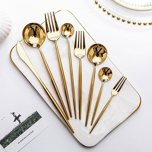 Gold forks, spoons, knives, dishes, stainless steel cutlery set